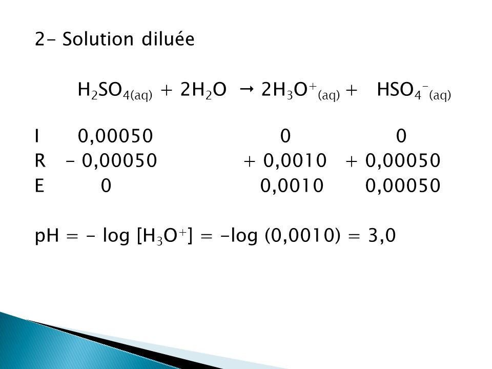 2- Solution diluée H2SO4(aq) + 2H2O  2H3O+(aq) + HSO4-(aq) I 0,00050 0 0 R - 0,00050 + 0,0010 + 0,00050 E 0 0,0010 0,00050 pH = - log [H3O+] = -log (0,0010) = 3,0